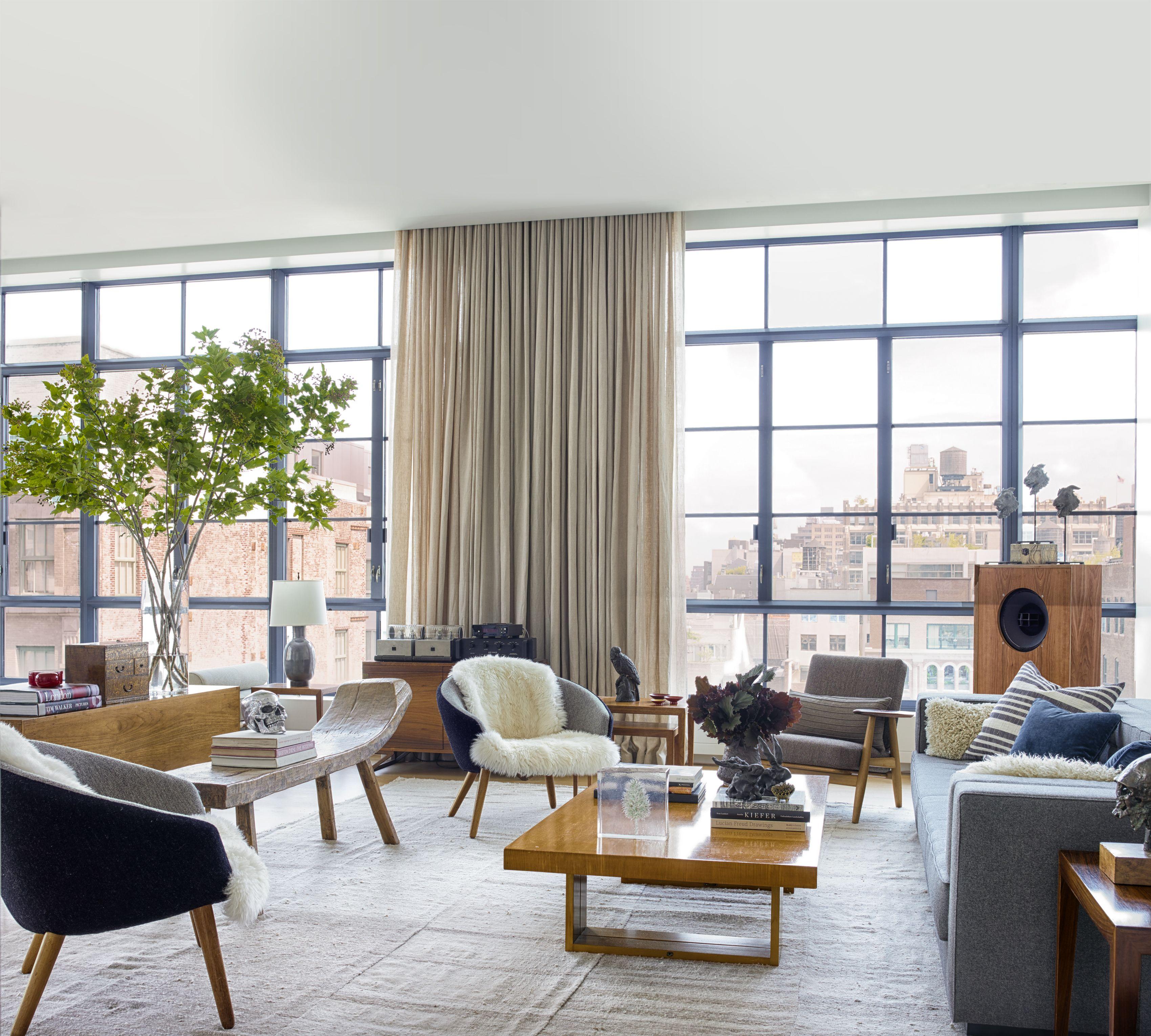 50 Perfect Curtain Ideas For Mastering Living Room Elegance Mid Century Modern Living Room Design Living Room Modern Living Room Grey
