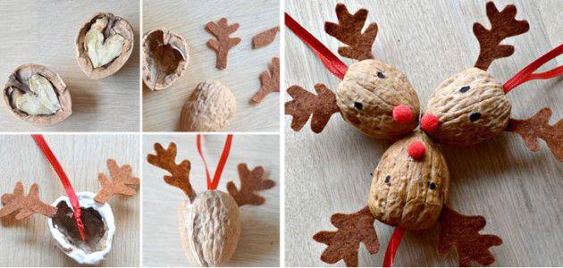 C mo hacer bolas para el rbol de navidad con nueces castelog - Cascara nueces para decorar ...