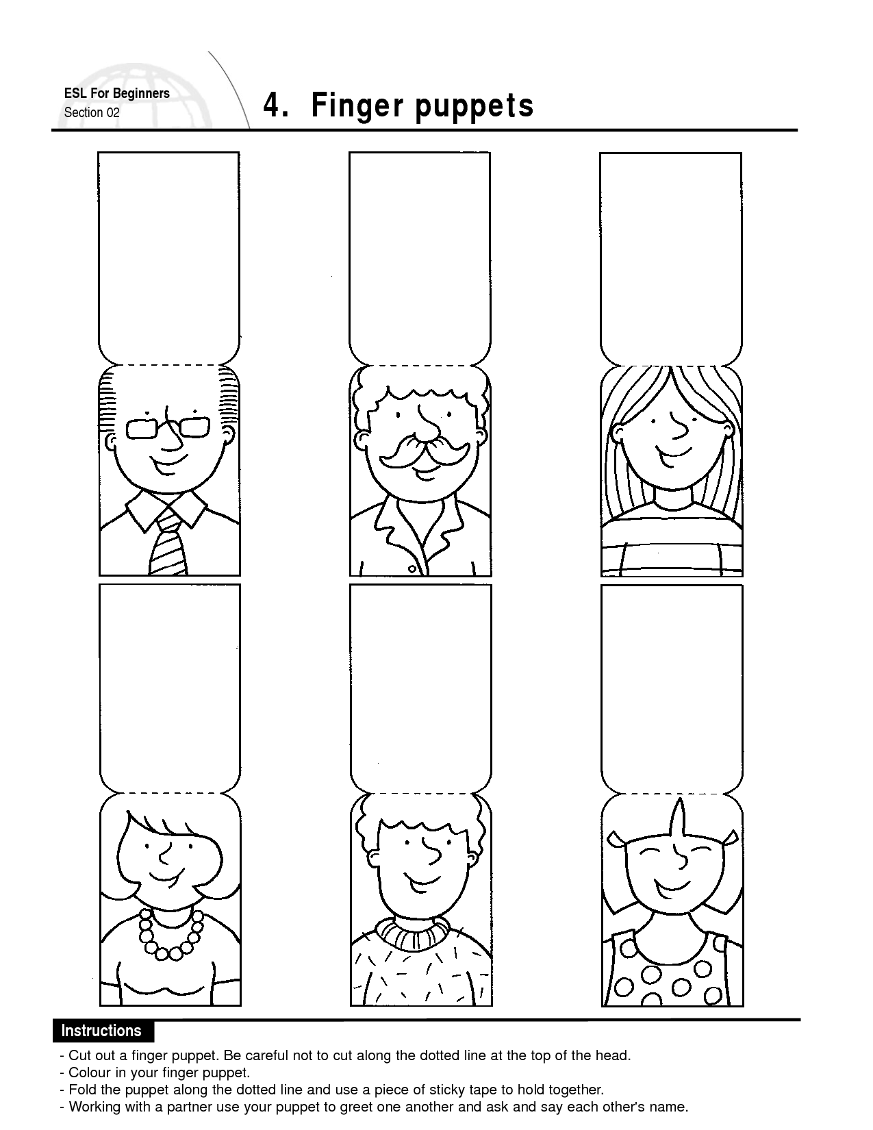 High Quality Printable Family Finger Puppets