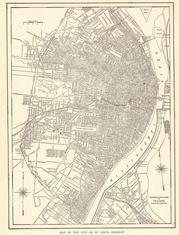 1914 Antique ST LOUIS MAP Vintage City Map of St Louis Black and ...