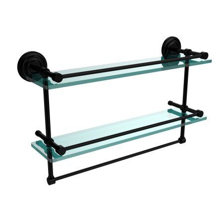 22 inch Gallery Double Glass Shelf with Towel Bar (Build to Order ...