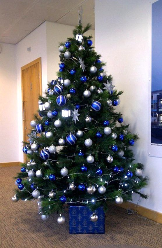 blue and silver christmas tree design