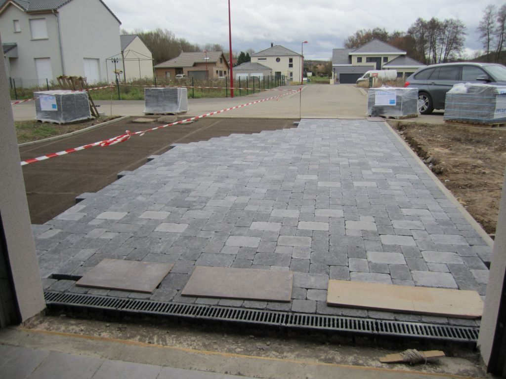 Paves Gris Allee Pavee Paves Exterieur Terrasse Pave