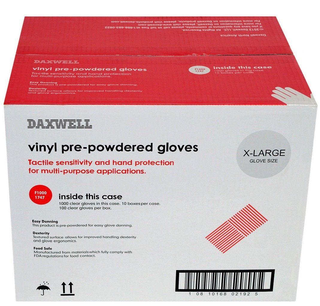 Daxwell f10001747 vinyl glove powdered extra large