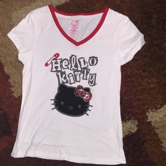 Hello Kitty V-neck T-shirt Hello Kitty V-neck T-shirt Hello Kitty Tops Tees - Short Sleeve
