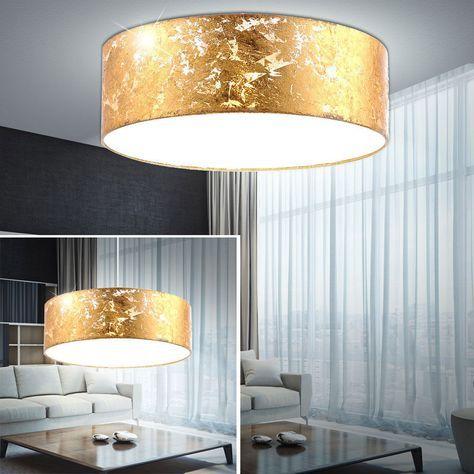 Details zu Design LED Decken Leuchte Gold Textil Schirm Küchen