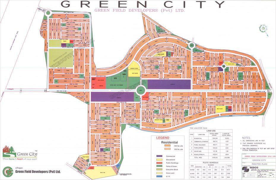 Green City Islamabad Layout Or Master Plan Green City Master Plan Layout