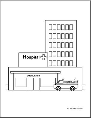 Clip Art Buildings Hospital Coloring Page I Maths