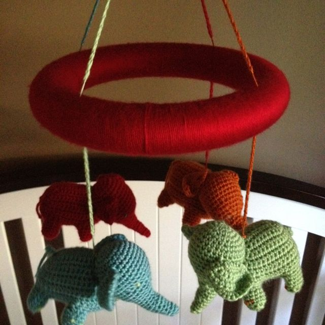 Baby mobile Colorful Baby Elephants Amigurumi Baby crib   Etsy   640x640
