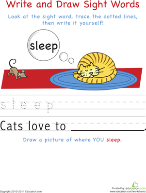 Write and Draw Sight Words: Sleep | АнглEnglish | Pinterest