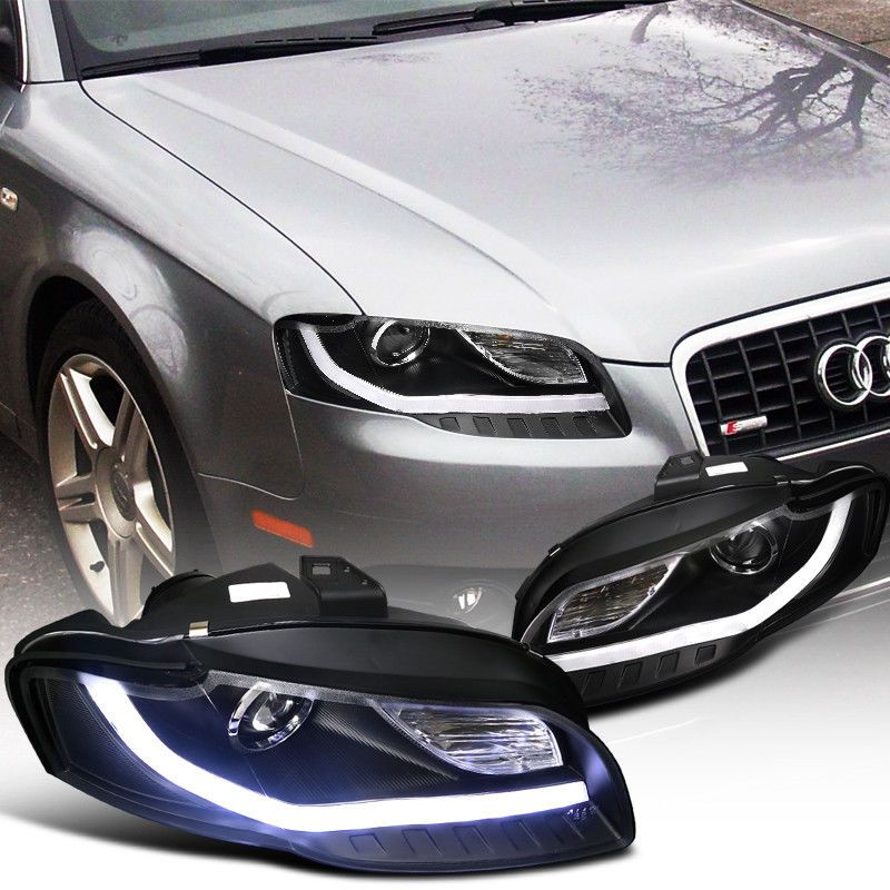 Cool Great 2006 2008 Audi A4 Projector Headlights W Bmw Style Led Drl Black Specd Tuning 2018 2019 Check More At Http 24carshop Com Product Audi A4 Audi Bmw