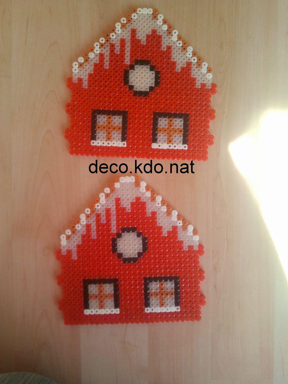 Deco kdo nat perles hama maison du p re no l 3d perle for Modele maison perle a repasser