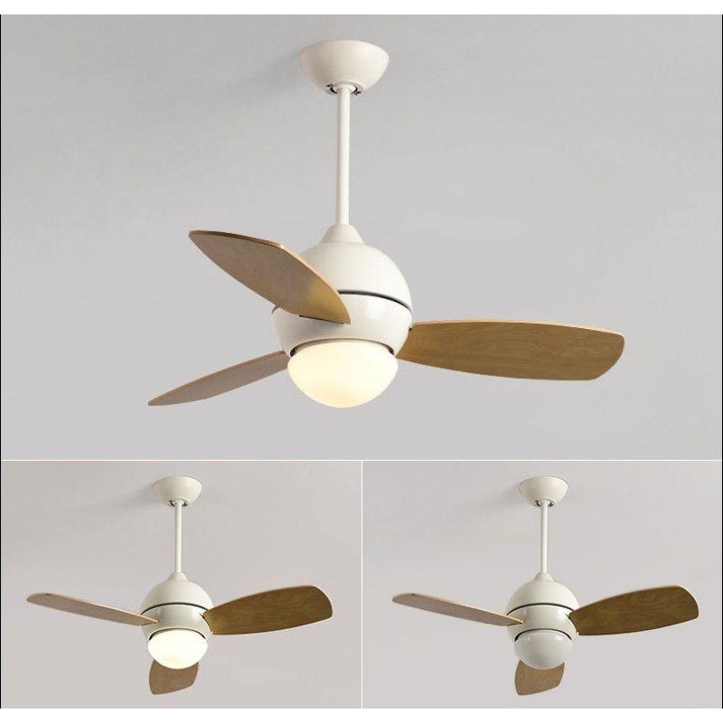 Electric Fan Chandelier Simple Modern 3 Wood Blades Childrens Fans