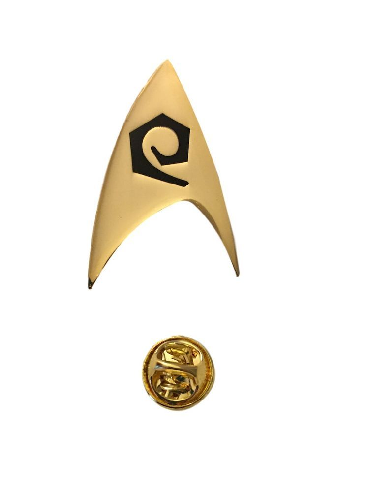 star trek gold pin new design with postage cheapest on  !!.
