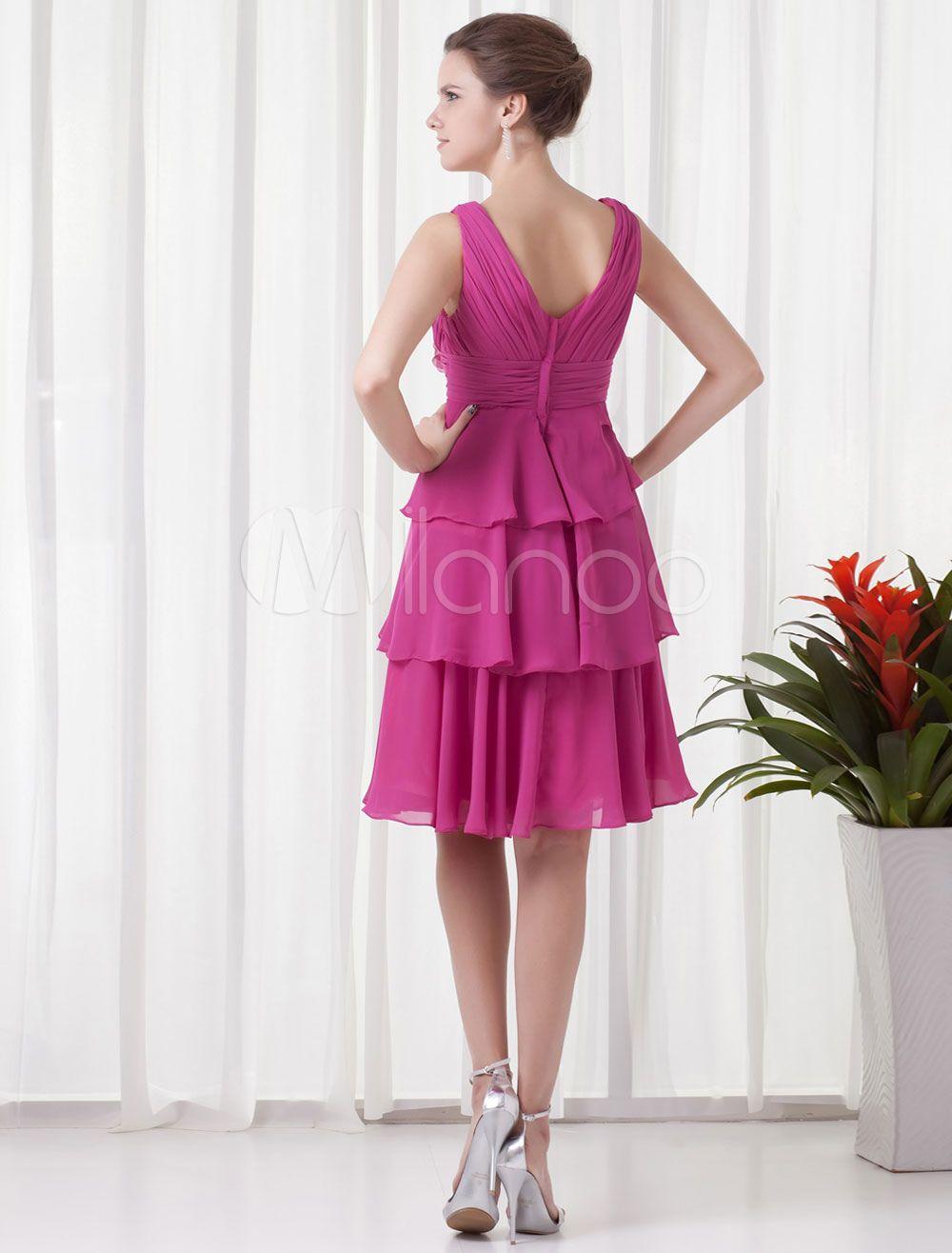 Dama corta rebordear vestido con cuello en v vestido de Cóctel ...