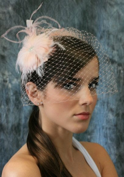 25fcbbb365f34 Blush Pink Birdcage Veil Set with Crystals and by EllenMarieDesign ...