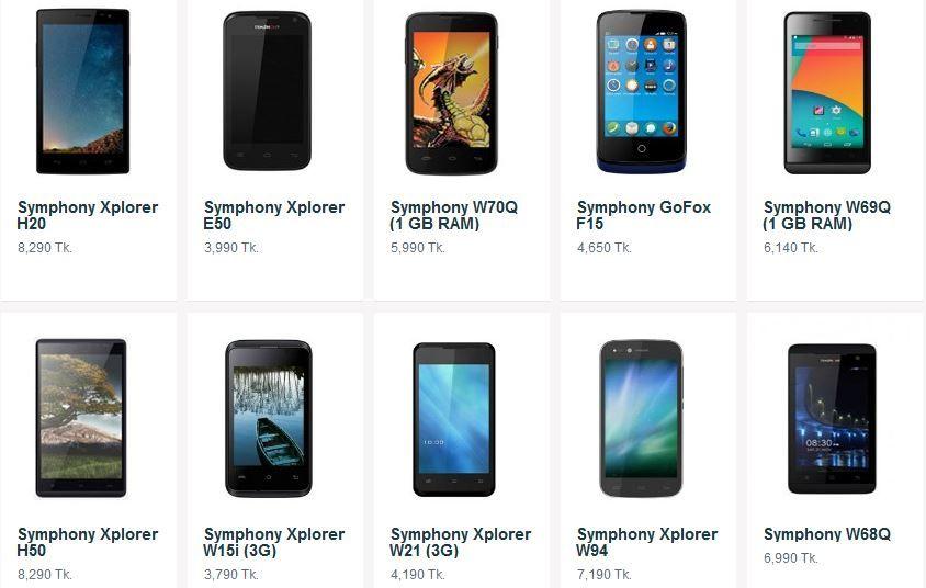 Symphony Mobile Price list in Bangladesh September 2016