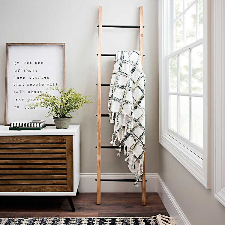 Natural Wood And Black Metal Ladder Ladder Decor Entryway Decor Small Modern Farmhouse Decor