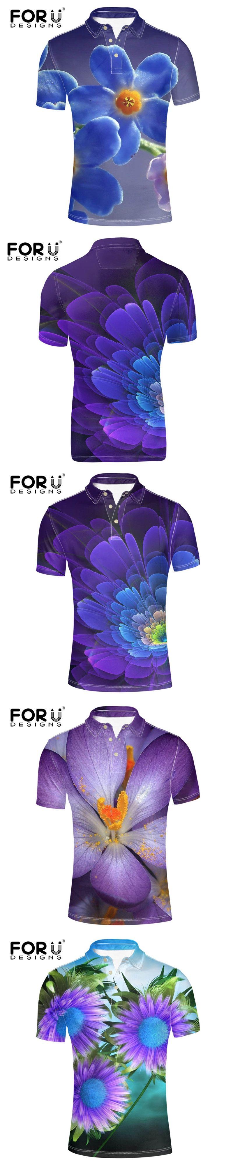 FORUDESIGNS Stylish 3D Unique Flower Print Mens Polo Shirt Summer Elastic  Polos for Male Brand Designer fb3472210e25b