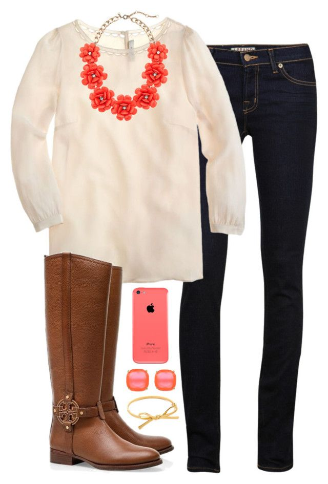 -floral necklace- by preppy-prep on Polyvore featuring polyvore, fashion, style, J.Crew, J Brand, Kate Spade and Tory Burch