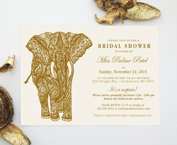 Mehndi Party Invites : Mehndi elephant indian henna art invitation design inspired