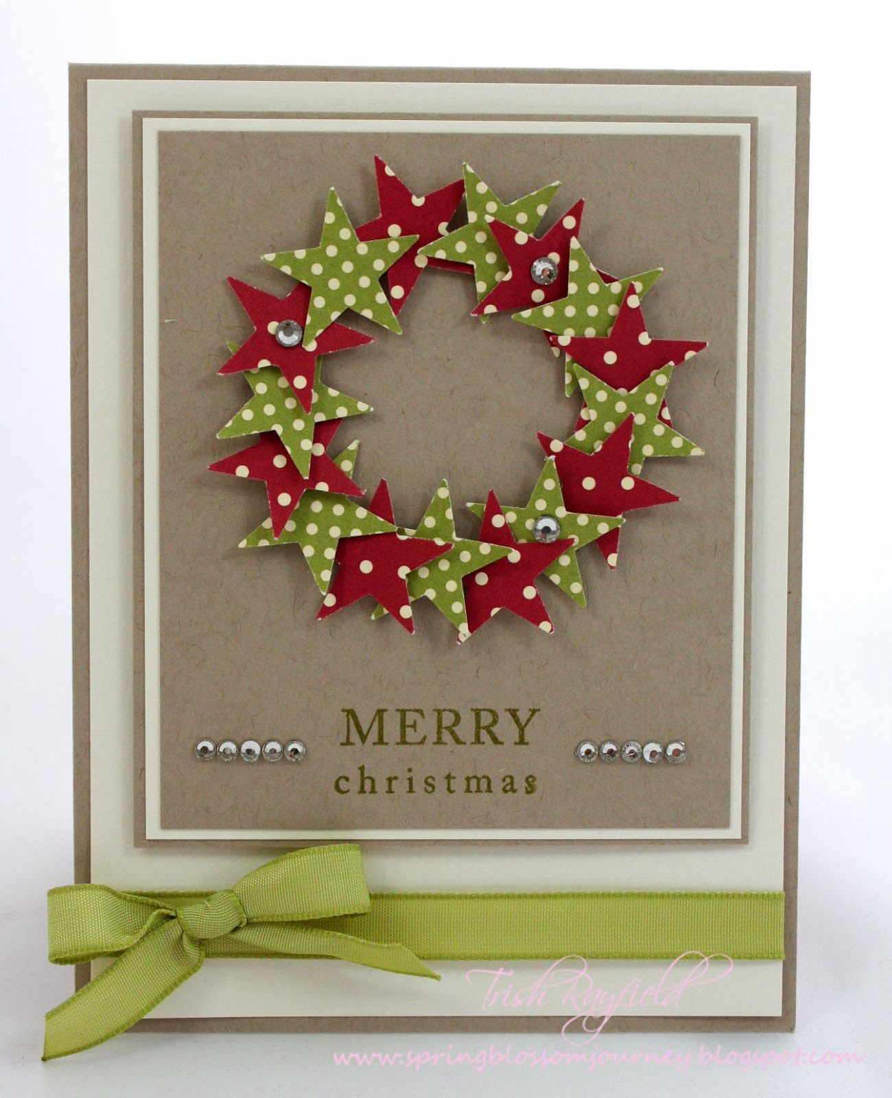 Wreath from old christmas cards - Several Layers Of Cream And Kraft Papers Form The Base For This Handmade Christmas Card
