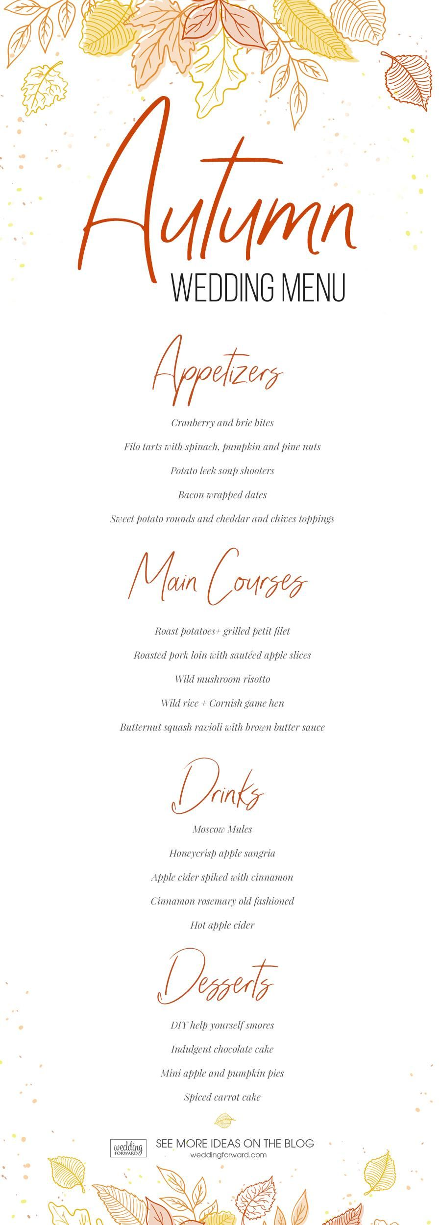 Top Wedding Menu Ideas In 2020 And Tips Wedding Forward Fall Wedding Menu Wedding Food Menu Wedding Menu
