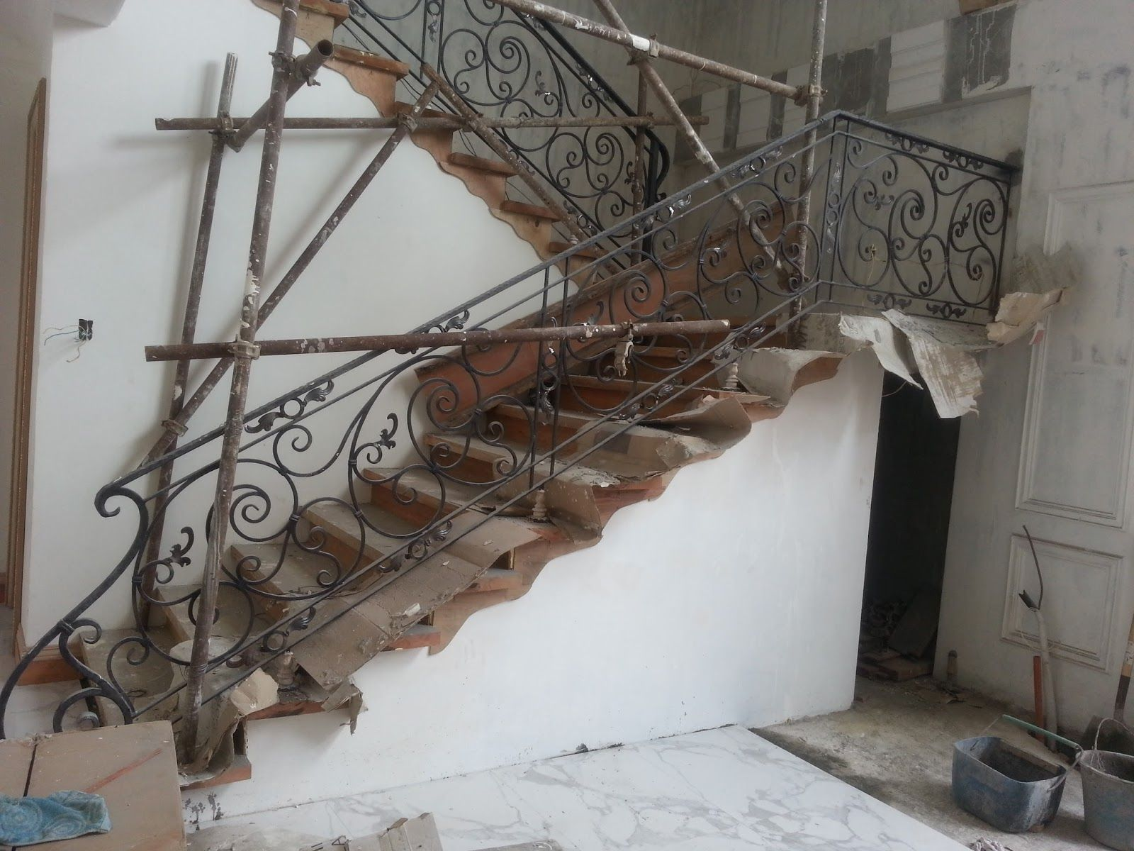 Iron And Glass Stair Railings | Materials Are Round Bars For The Scrolls In  Different Sizes, Wood .