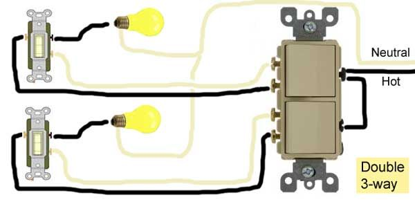 double 3 way switch wiring electricity three way switching wire  double switch wiring diagram house #2