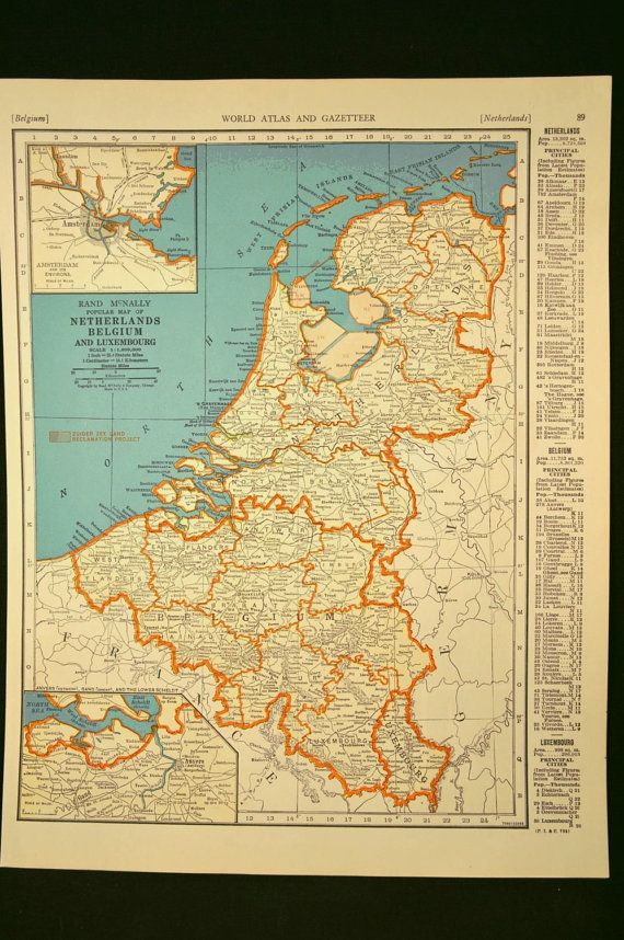 Netherlands map holland map vintage belgium luxembourg 1930s vintage map netherlands belgium luxembourg 30s original 1935 gumiabroncs Gallery