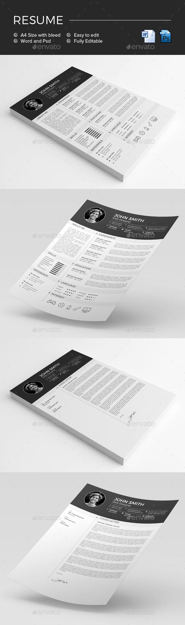 Resume Template Psd Ms Word  Resume Templates