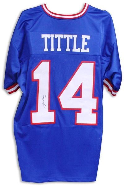 f21593ab608 Y.A. Tittle New York Giants Autographed Blue Jersey - APE COA | new ...