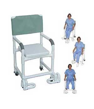 """rolling shower chair w / soft seat and footrests, 22"""" $349.00 free"""