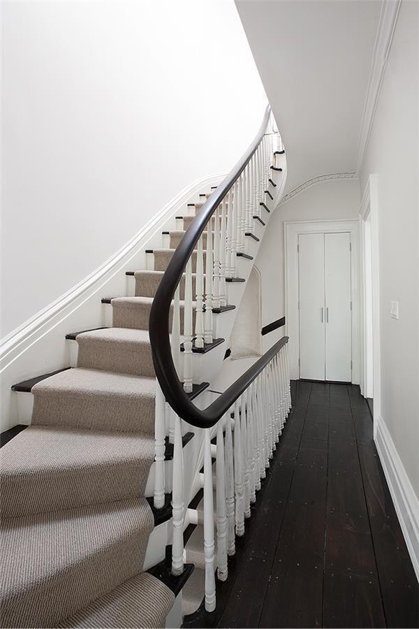 Stairs Handrail Banister Runner Dark Wood Floors White Walls   Dark Wood And White Stairs   Light   Contrast   Brick Wall Dark Stain   Flooring   Carpet