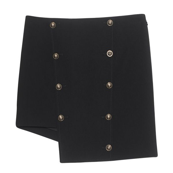 VERSUS VERSACE by ANTHONY VACCARELLO  Asymmetric Black Buttoned mini skirt…