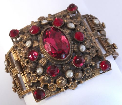 Antique Art Nouveau Gold Gilt Flower Garnet Red Rhinestone Pearl Bracelet | eBay
