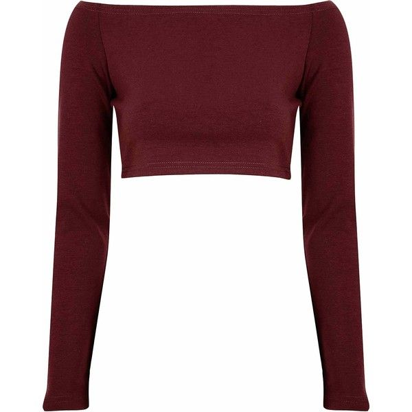 92aa835a2146c4 Burgundy Long Sleeve Bardot Crop Top ($20) ❤ liked on Polyvore featuring  tops,