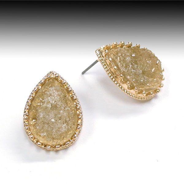 Teardrop Gold Druzy Post Earring