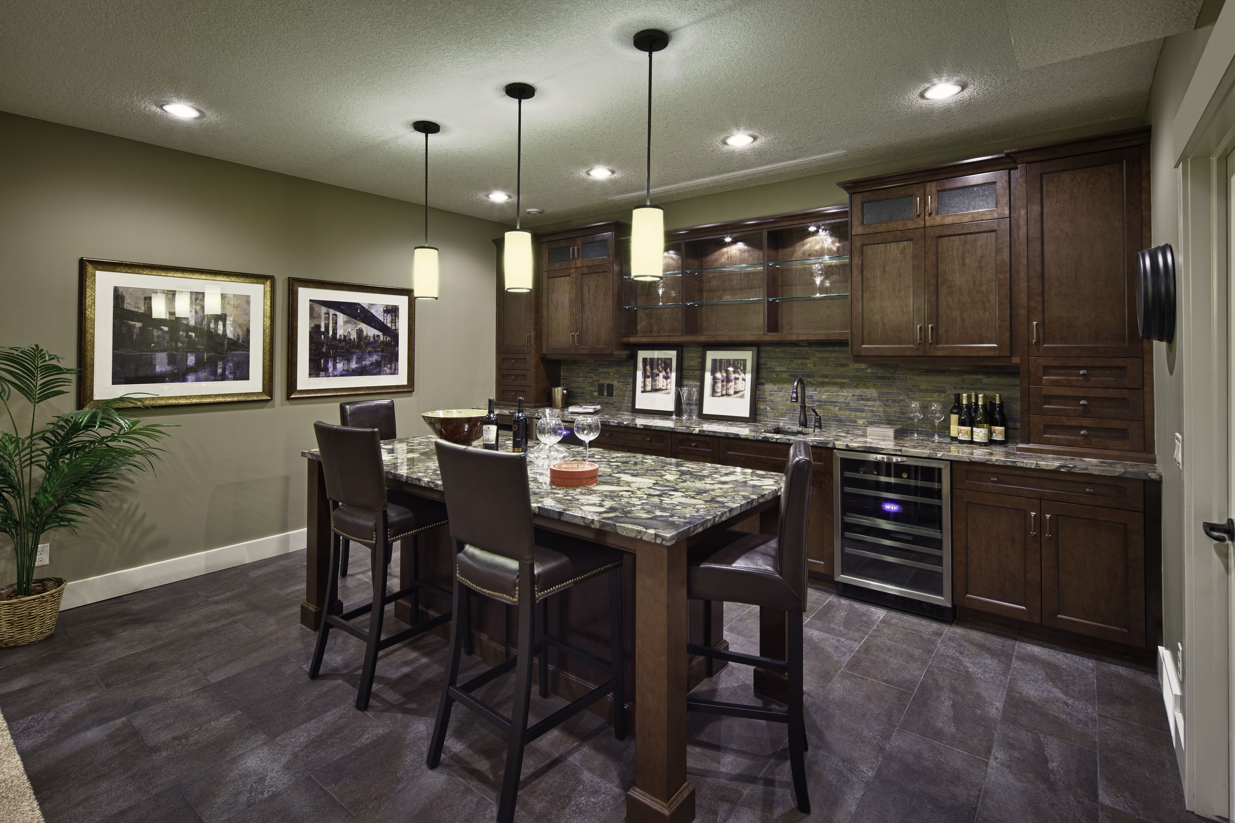 Developed Basement - built-in wet bar | Wet bar basement ...