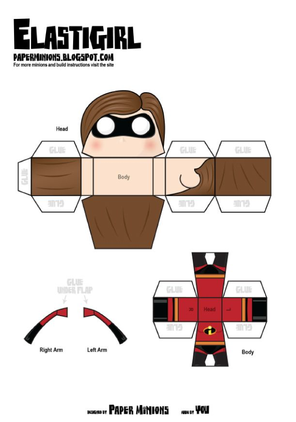 The Incredibles de Paper Minions | Paper toys, Template and Toy