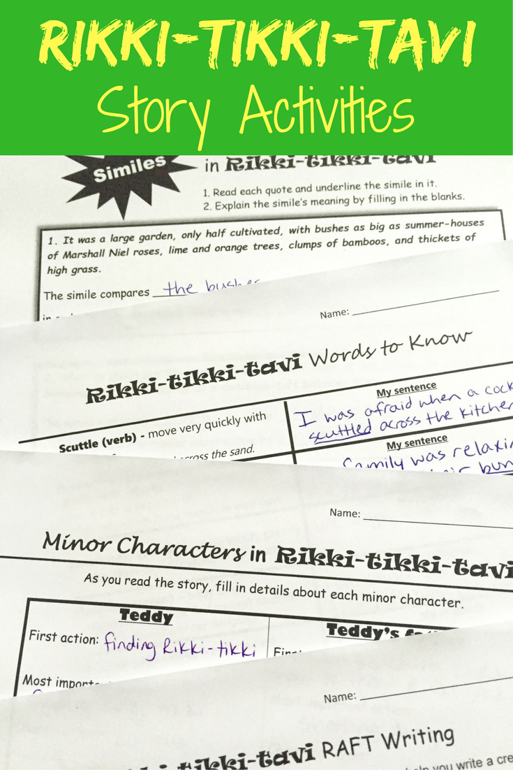 rikki tikki tavi activity pack increase reading comprehension rikki tikki tavi activites vocabulary characters and more