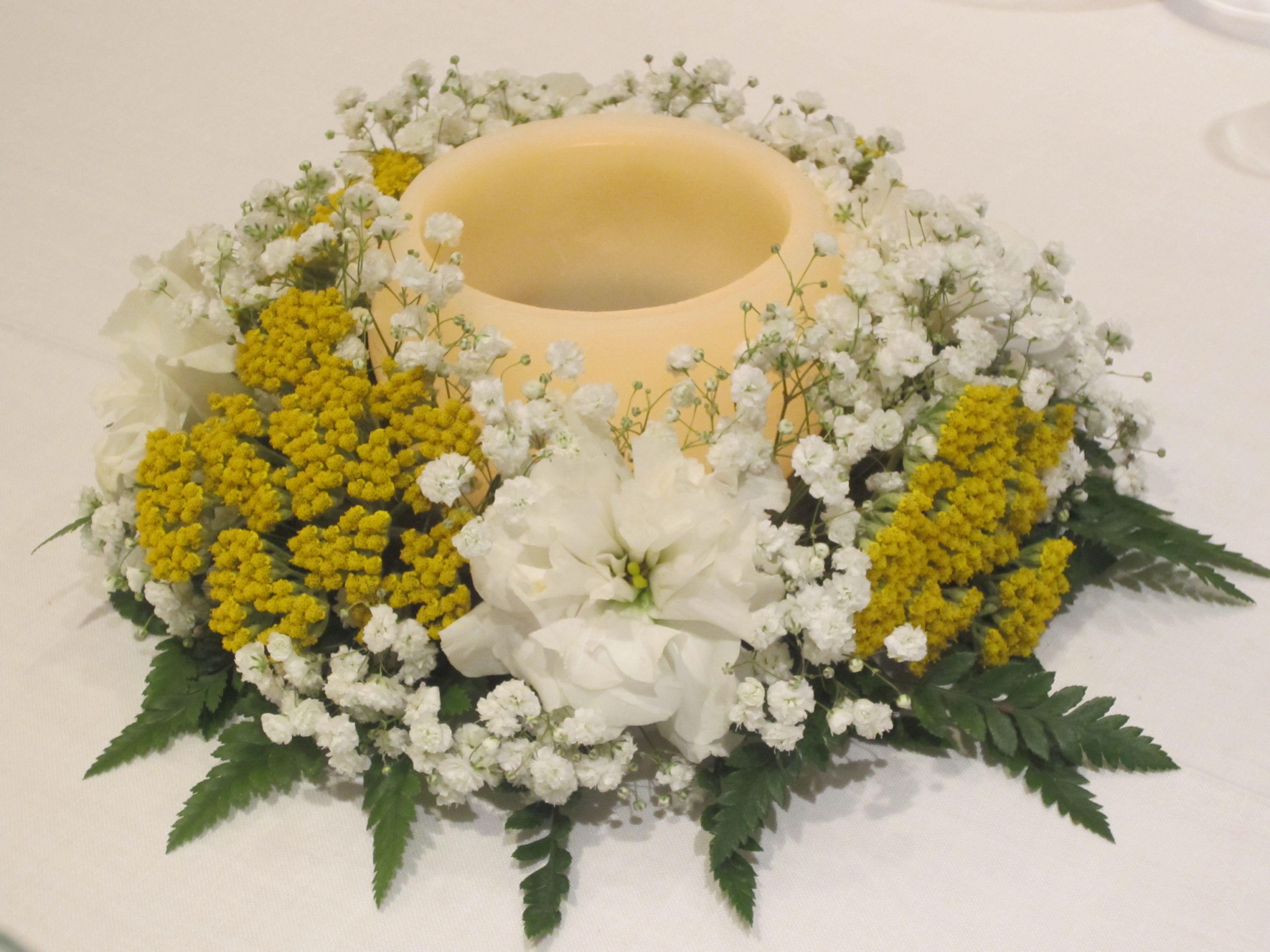 Floral wedding decoration with candle tables arreglo - Arreglos con velas ...