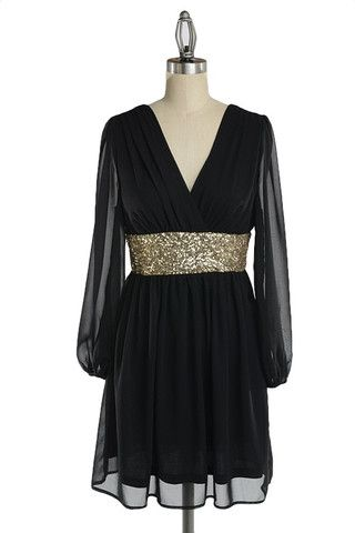 Roman Holiday Long Sleeve Sequin Dress - Black + Gold - $57.00   Daily Chic Dresses   International Shipping