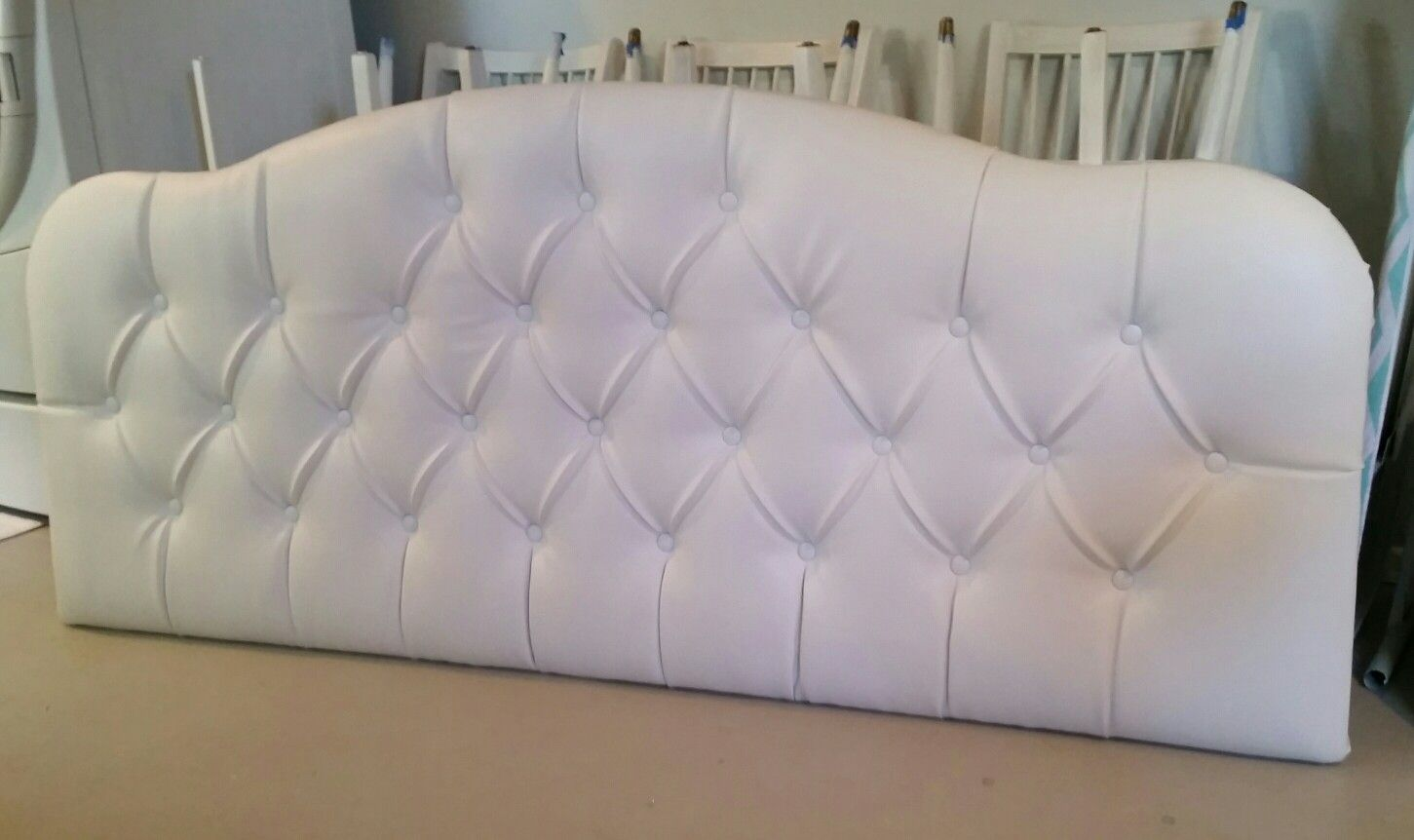 King Size White Faux Leather Vinyl Tufted Upholstered