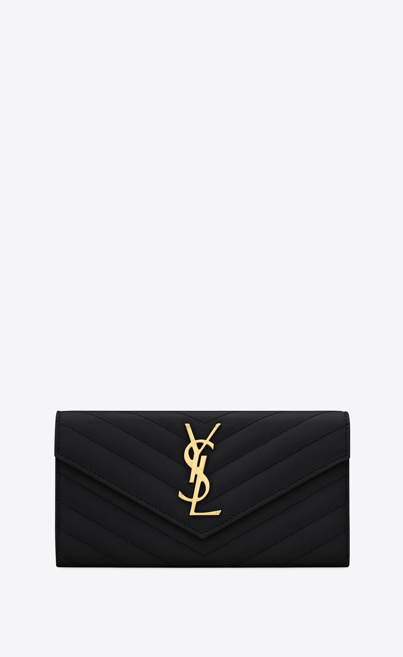 6ec3e0ae827 Monogram large flap wallet in grain de poudre embossed leather, Front view