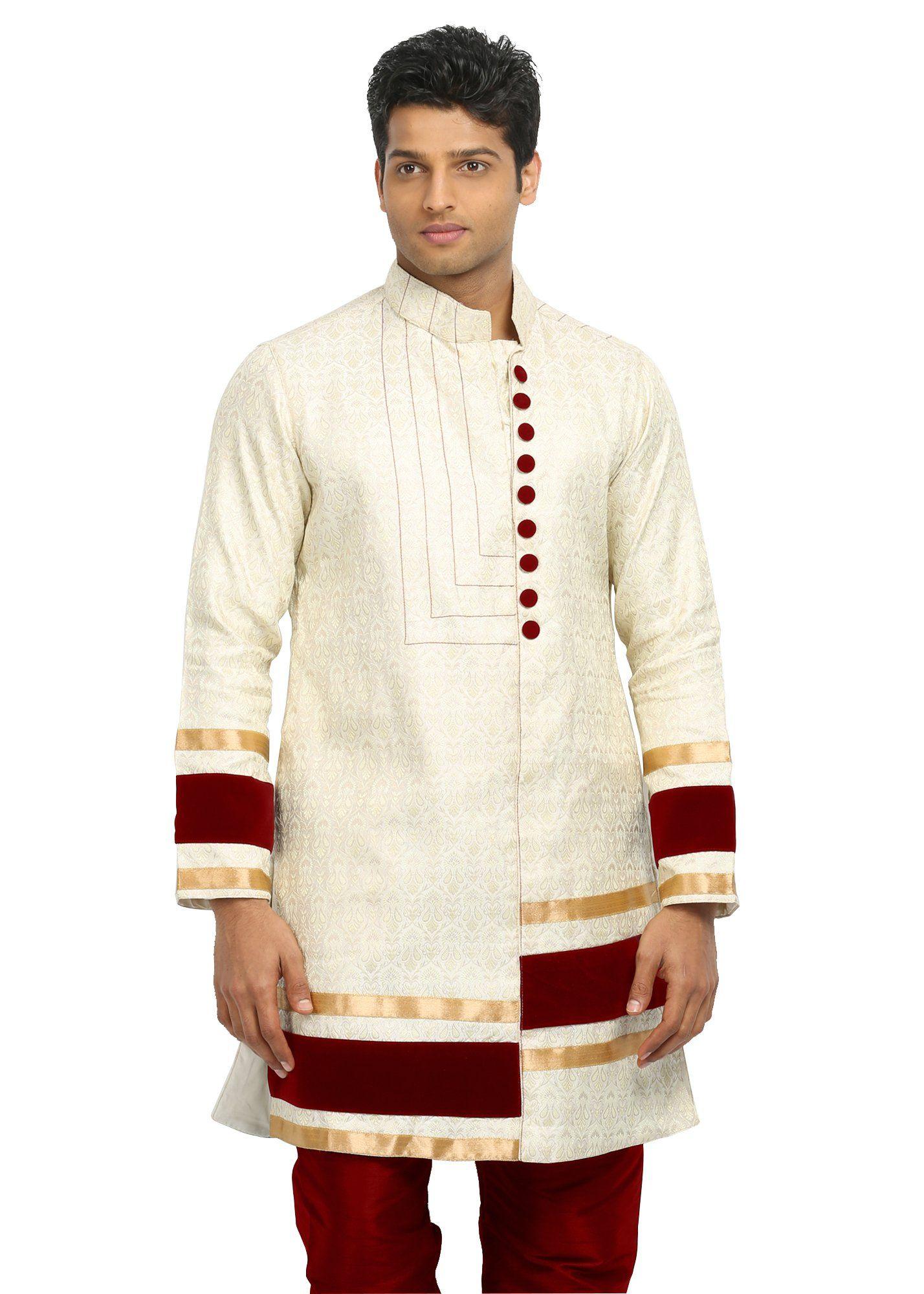 Beige indian wedding kurta pajama sherwani indian ethnic wear for