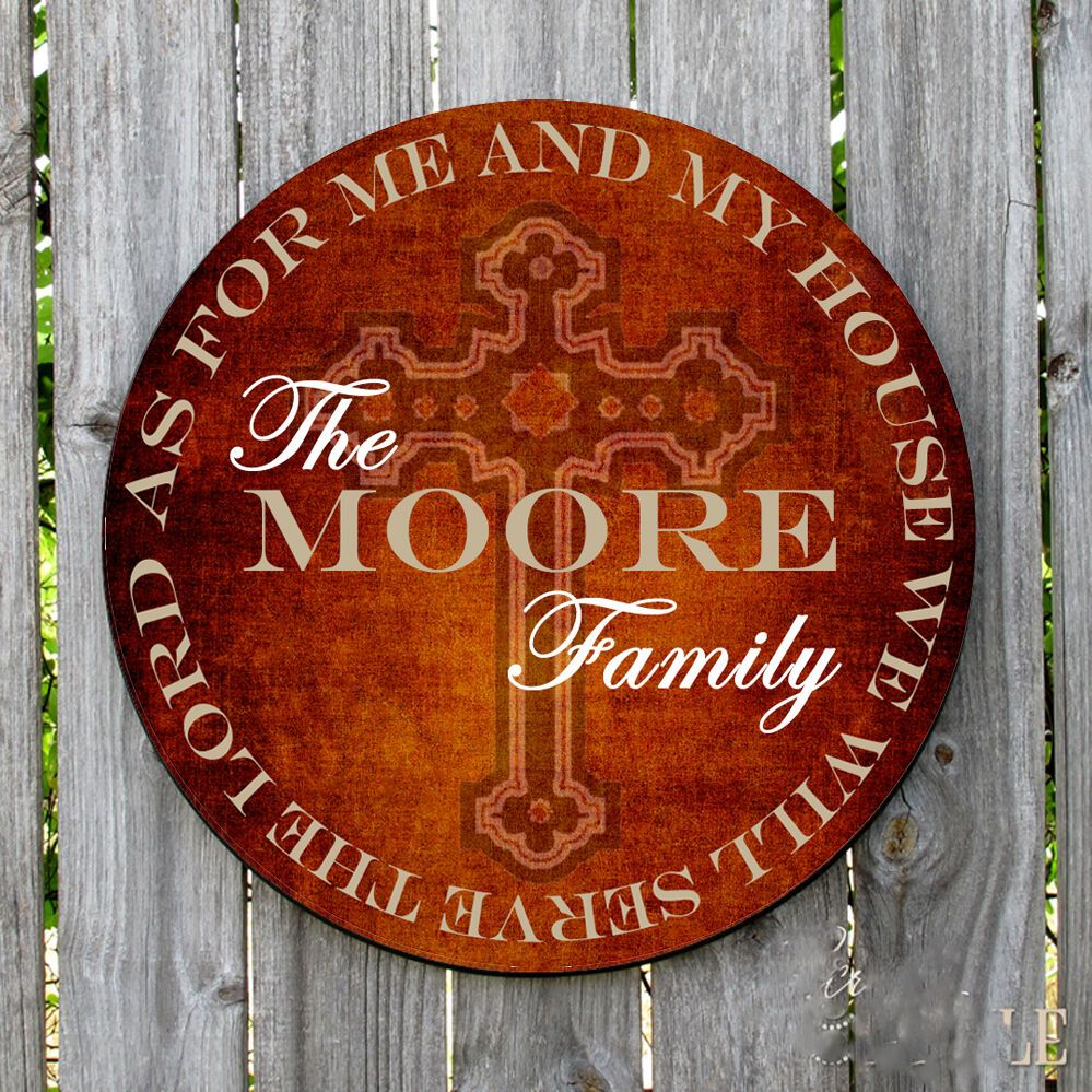 Personalized Christian We Will Serve The Lord Round Metal Sign Gift Custom Sign Metal Signs Serve The Lord