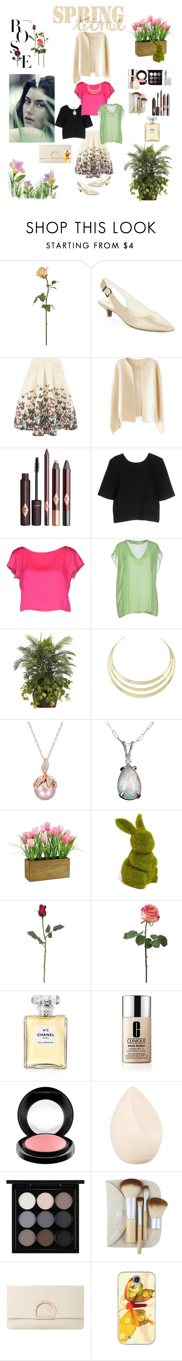 """Finally Spring!"" by nancyh4745 ❤ liked on Polyvore featuring Anne Klein, Jolie Moi, Suncoo, Milly, KI6? Who Are You?, Nearly Natural, Allstate Floral, Chanel, Clinique and MAC Cosmetics"