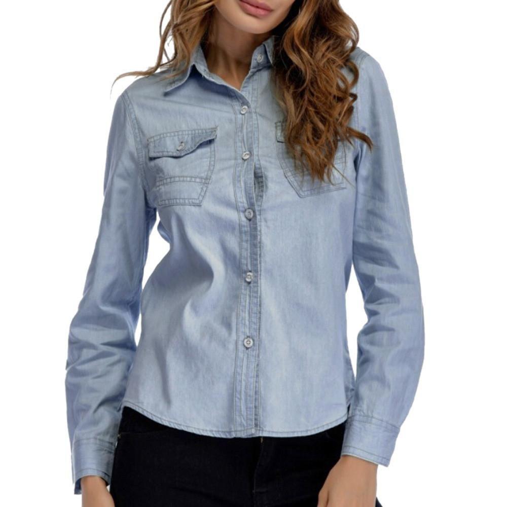 Denim Style Long Sleeve Casual Shirt, Dark Blue Or Light
