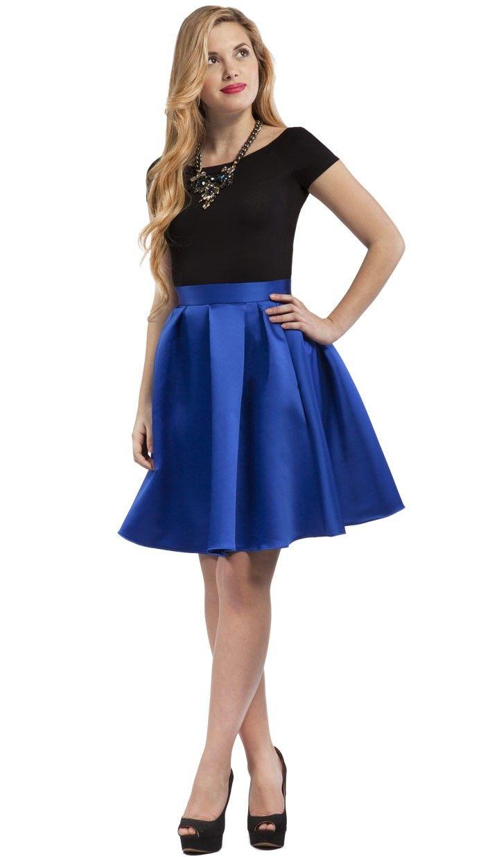 26e5e245c Exclusiva falda corta midi azul pavo con brillo Más
